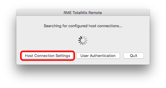Host Connection Settings