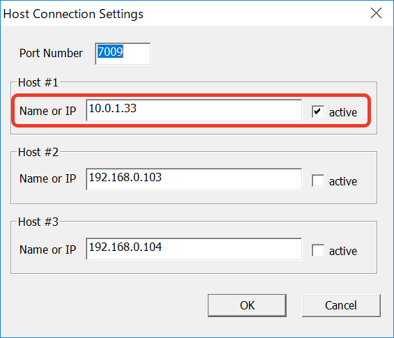 Host Connection Settings Windows