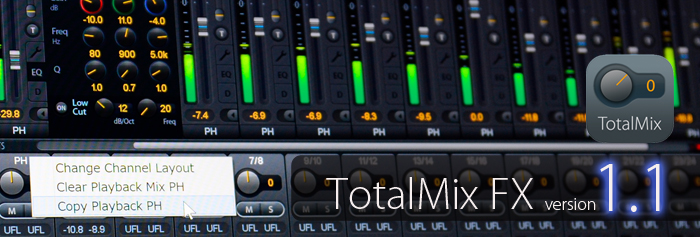 TotalMix FX 1.1 リリース:待望の新機能を実装!